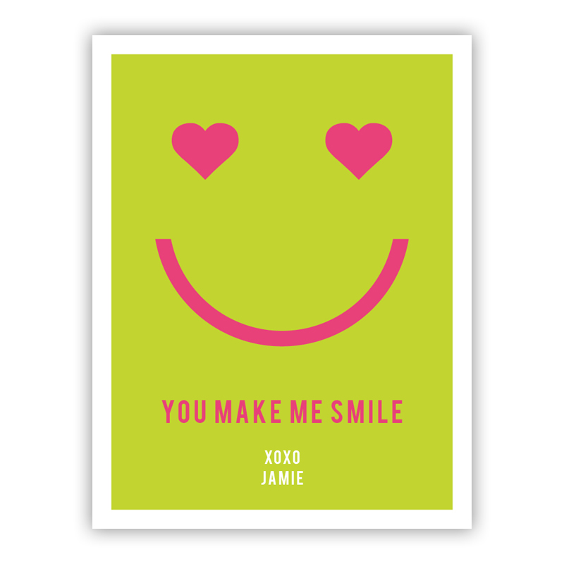 Smile Tiny Valentines Day Cards, Personalized, qty 16