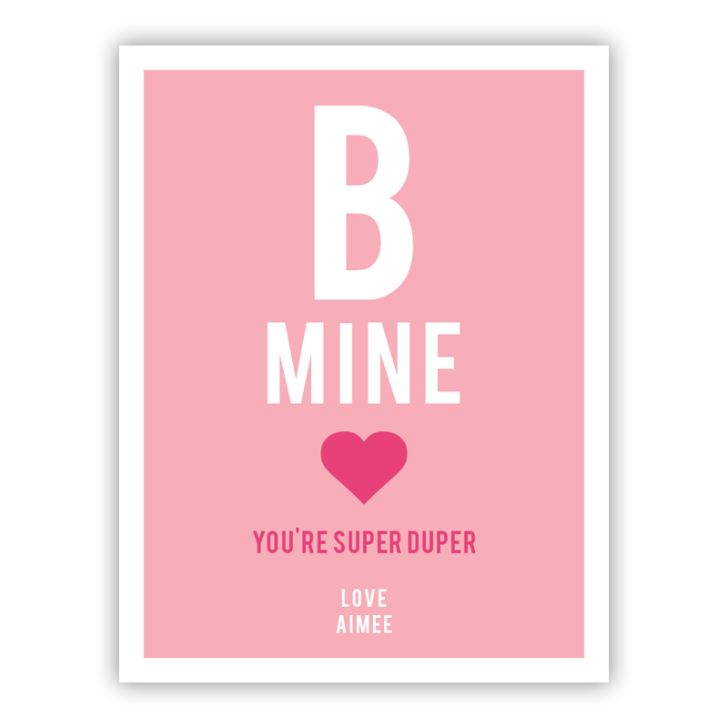 B Mine Tiny Valentines Day Cards, Personalized, qty 16