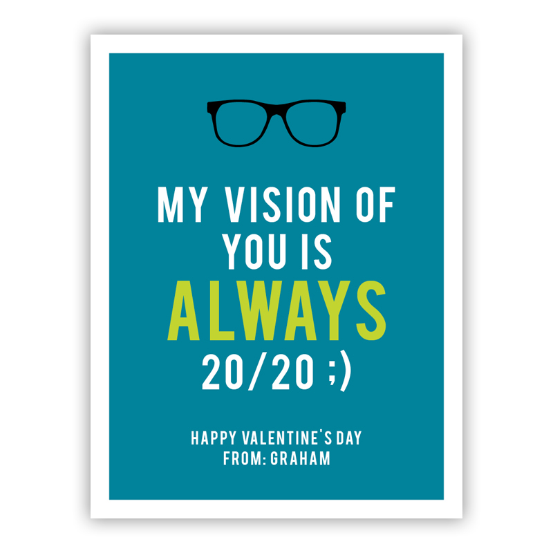 20/20 Tiny Valentines Day Cards, Personalized, qty 16