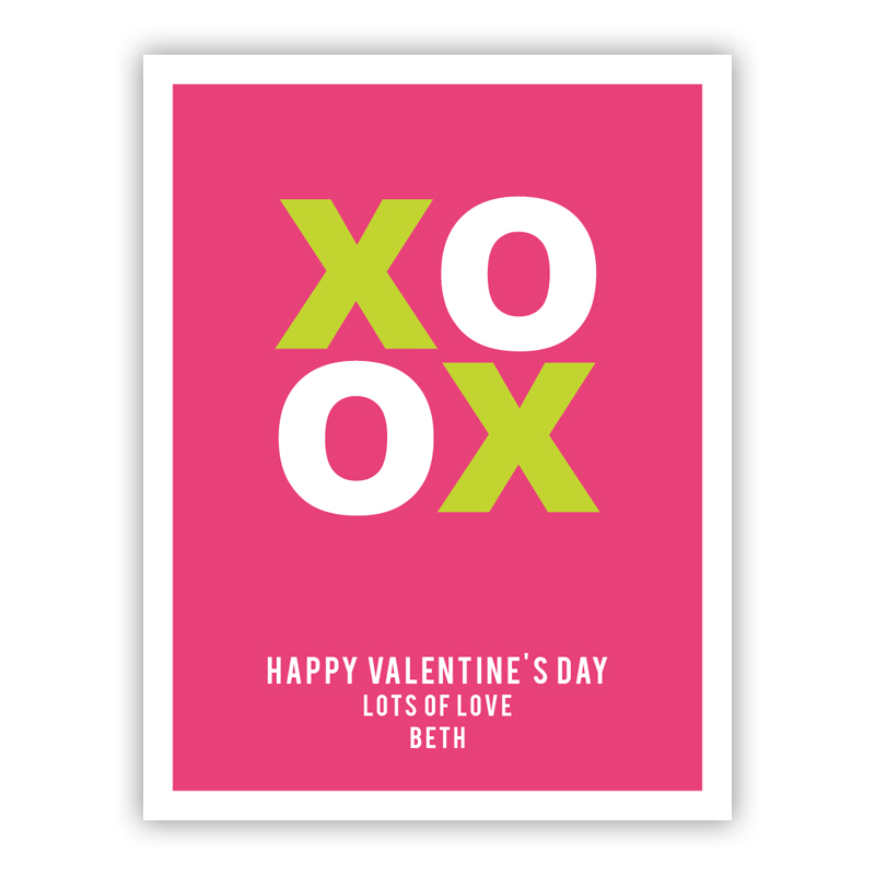 XOXO Tiny Tiny Valentines Day Cards, Personalized, qty 16