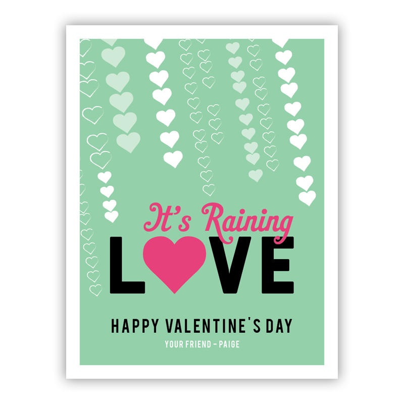 Raining Love Tiny Valentines Day Cards, Personalized, qty 16