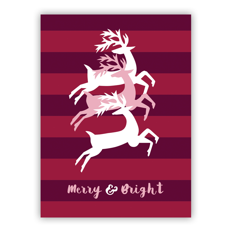 Three Jumpers Plum Merry & Bright Holiday Greeting Card