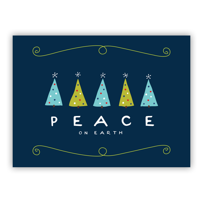 Peace on Earth Trees Navy Holiday Greeting Card