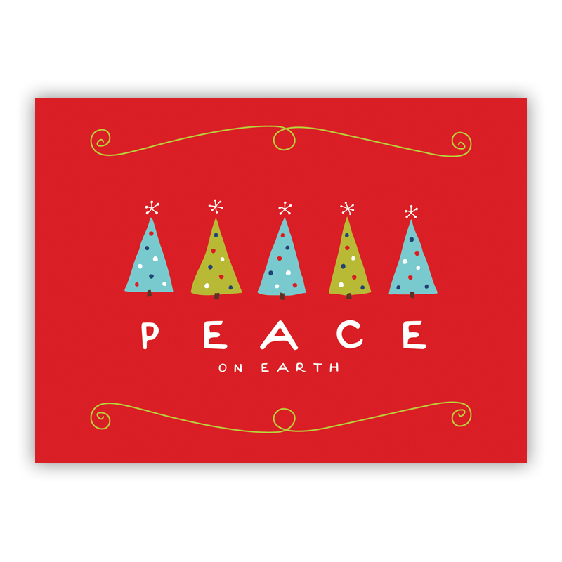 Peace on Earth Trees Red Holiday Greeting Card