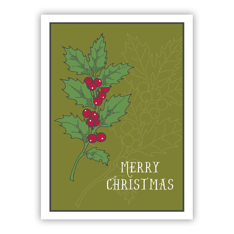 Holly Merry Christmas Holiday Greeting Card
