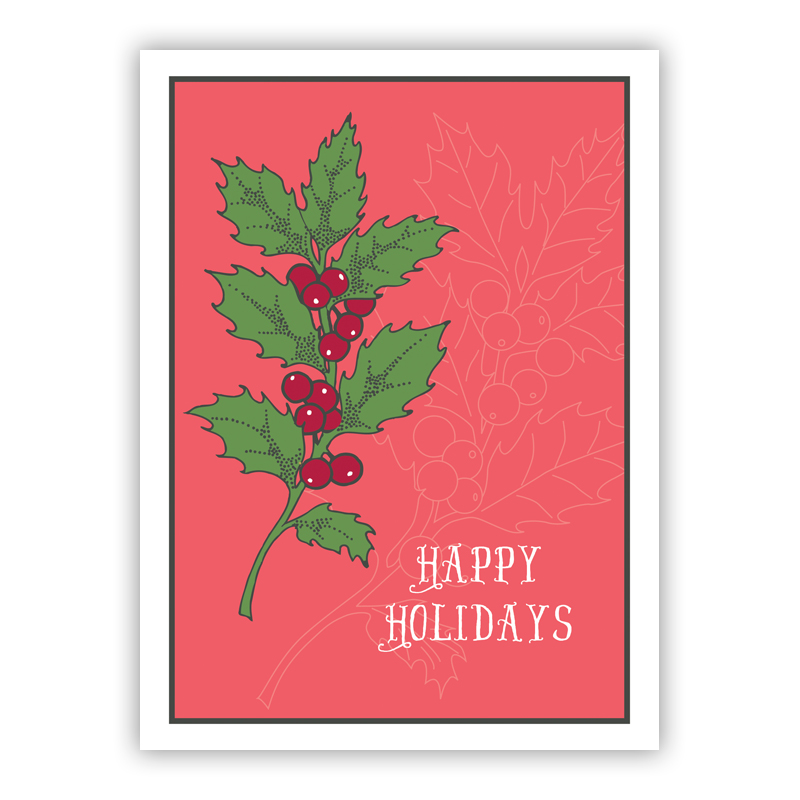 Holly Happy Holidays Holiday Greeting Card
