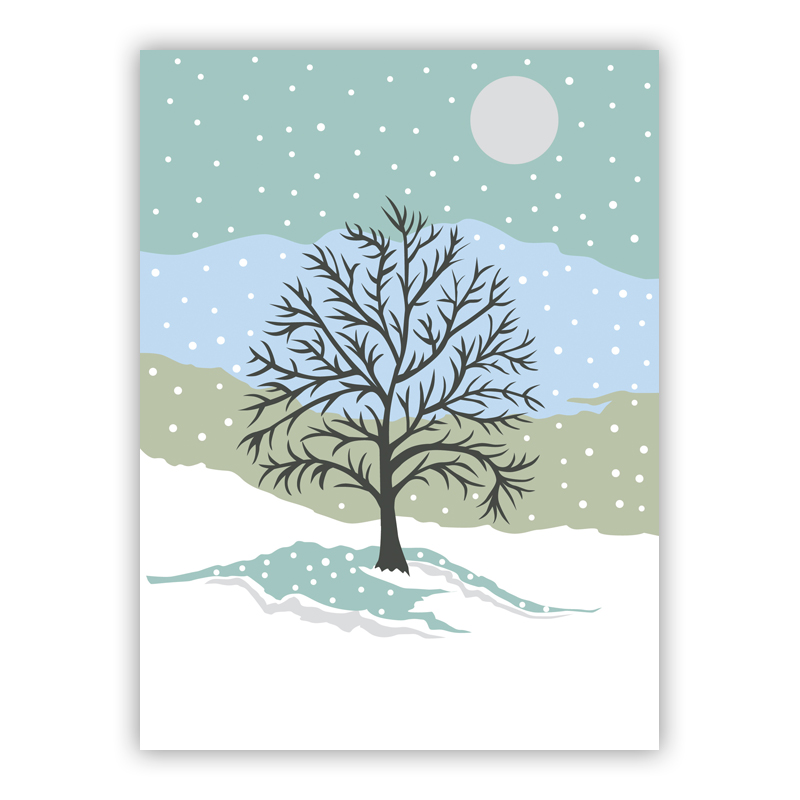 Snowy Day Blue Holiday Greeting Card