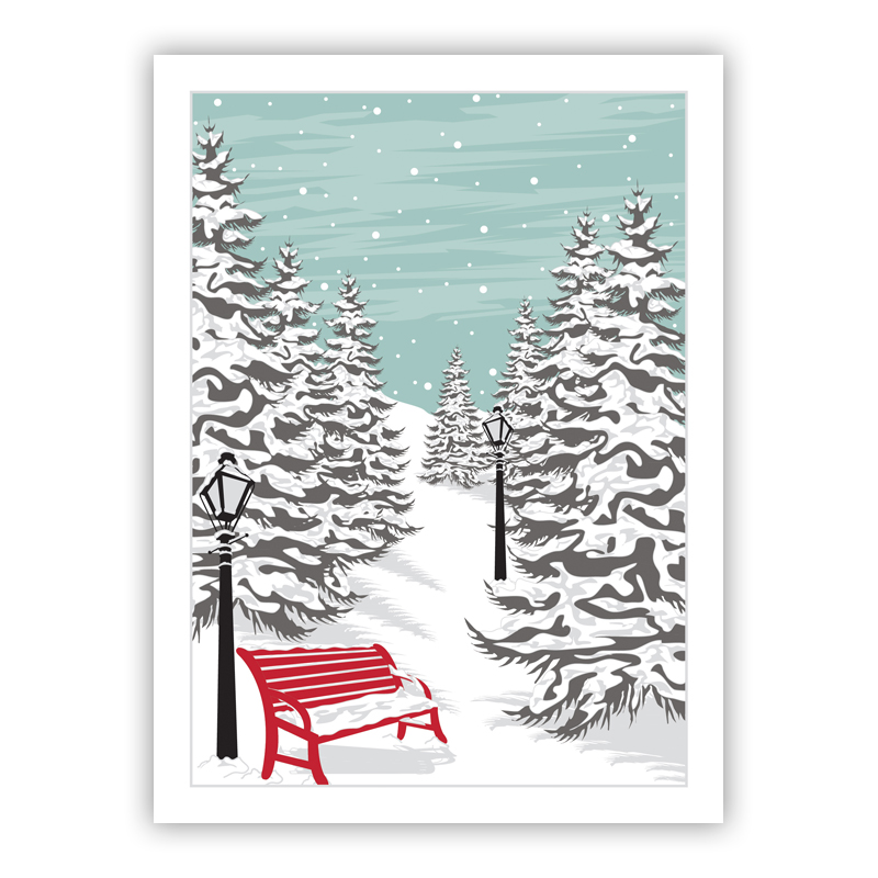 Red Bench Holiday Greeting Card