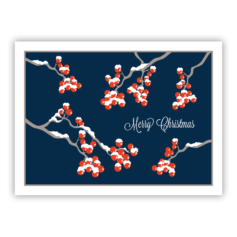 Berries Navy Holiday Greeting Card