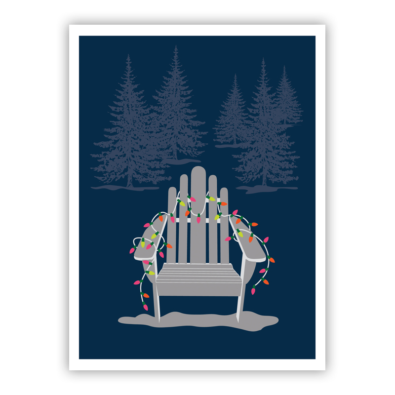 Adirondack Navy Christmas Chair Holiday Greeting Card