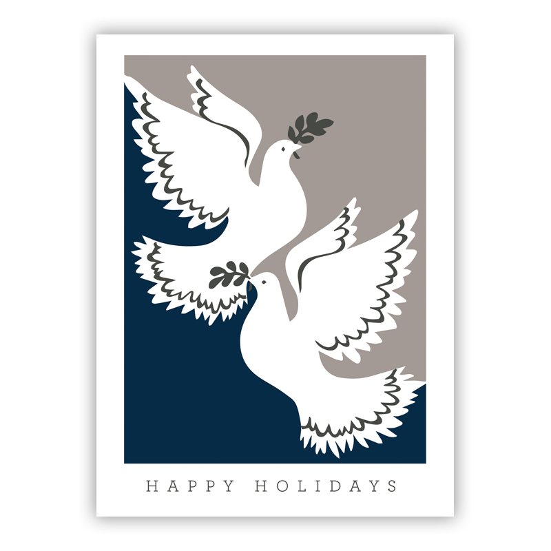 Happy Holidays Two Doves Navy Holiday Greeting Card