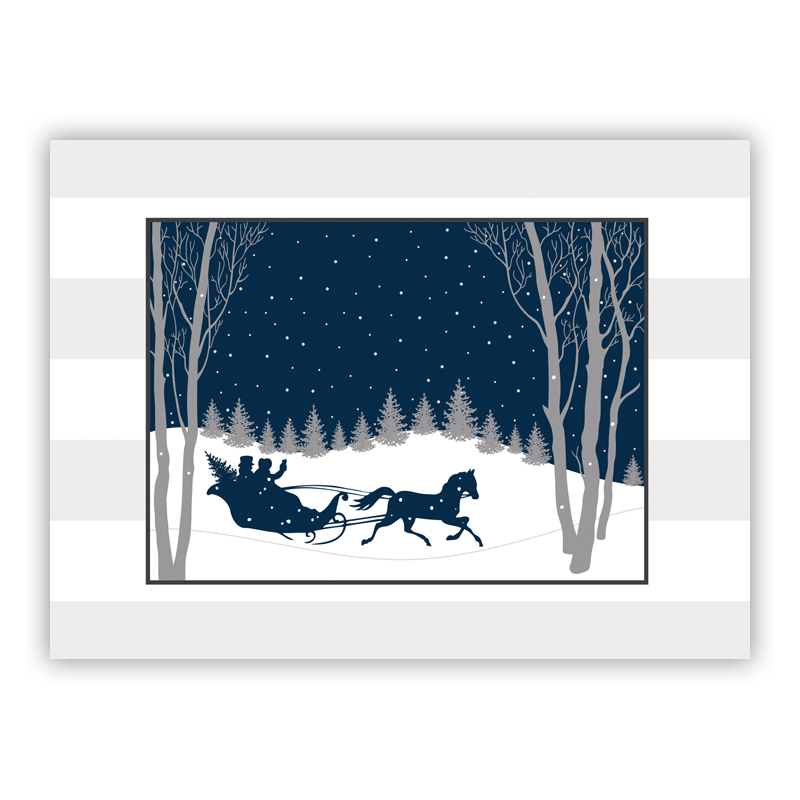 Joyride Navy Holiday Greeting Card