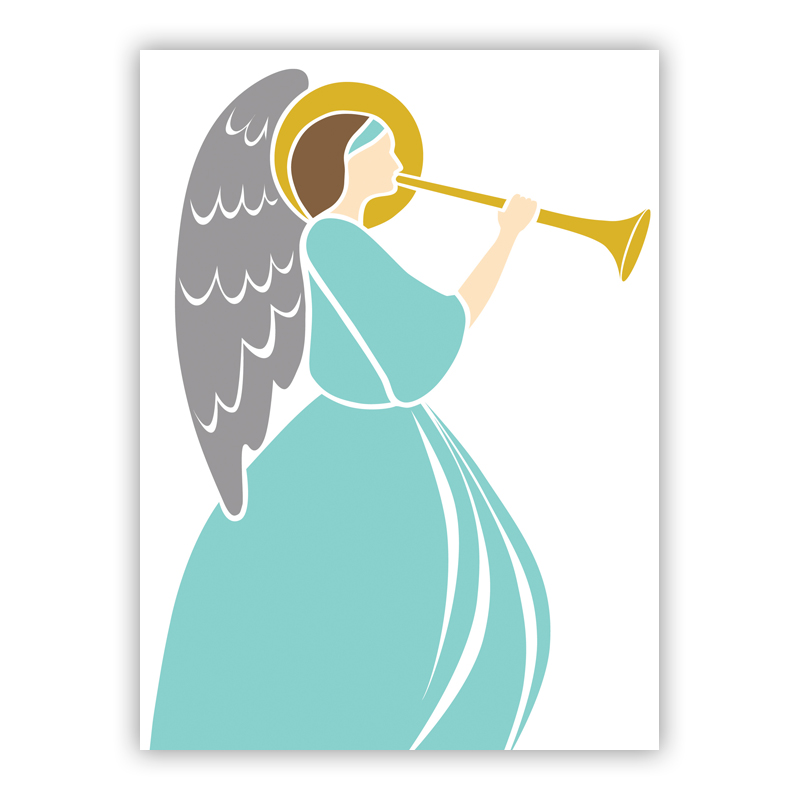 Angel with Horn Holiday Greeting Card