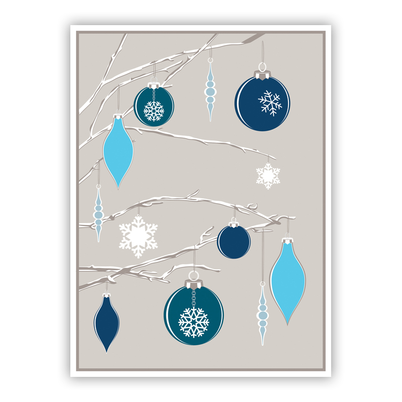 Ornaments on a Tree Holiday Greeting Card