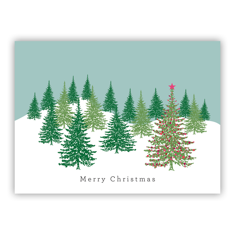 Fancy Christmas Tree Pink Holiday Greeting Card
