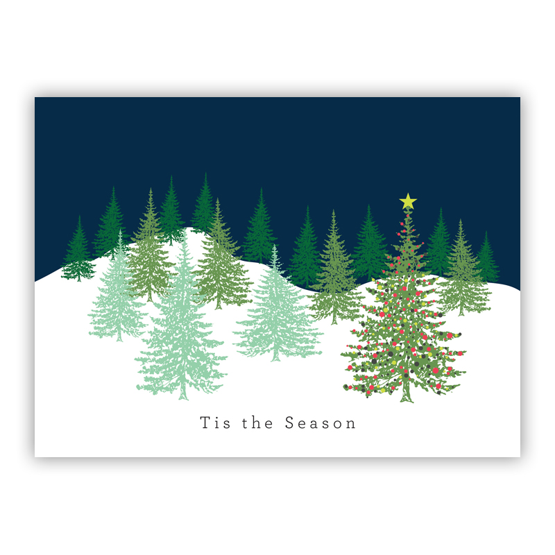 Fancy Christmas Tree Lime Holiday Greeting Card