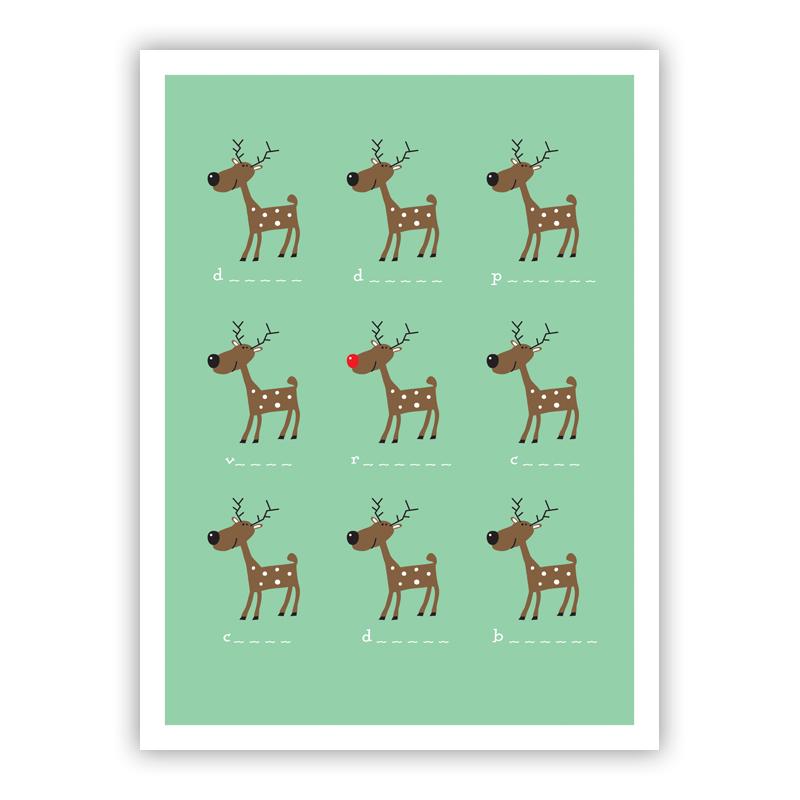 Reindeer Fun Holiday Greeting Card