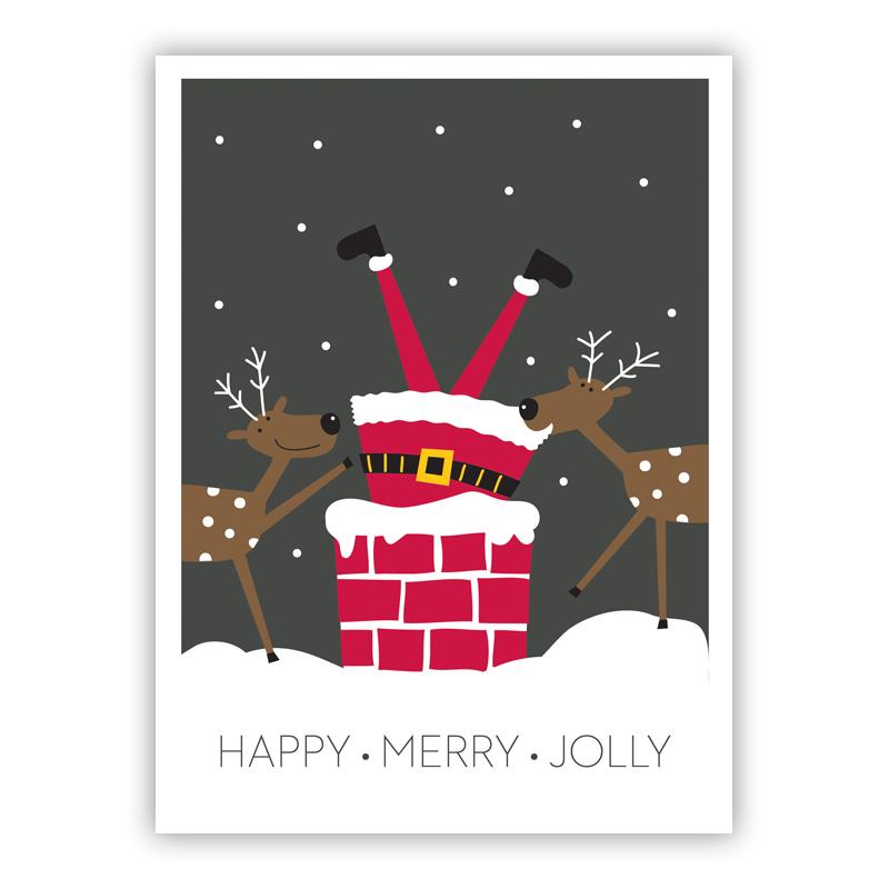 Happy, Merry, Jolly Chimney Santa at Christmas Holiday Greeting Card