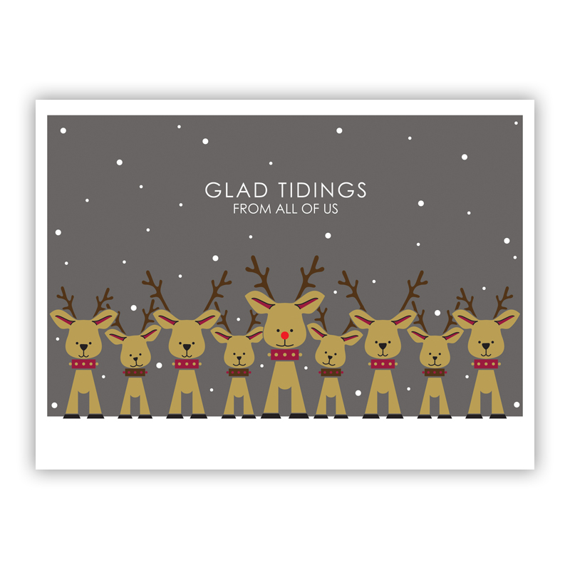 Reindeer Family Grey Holiday Greeting Card