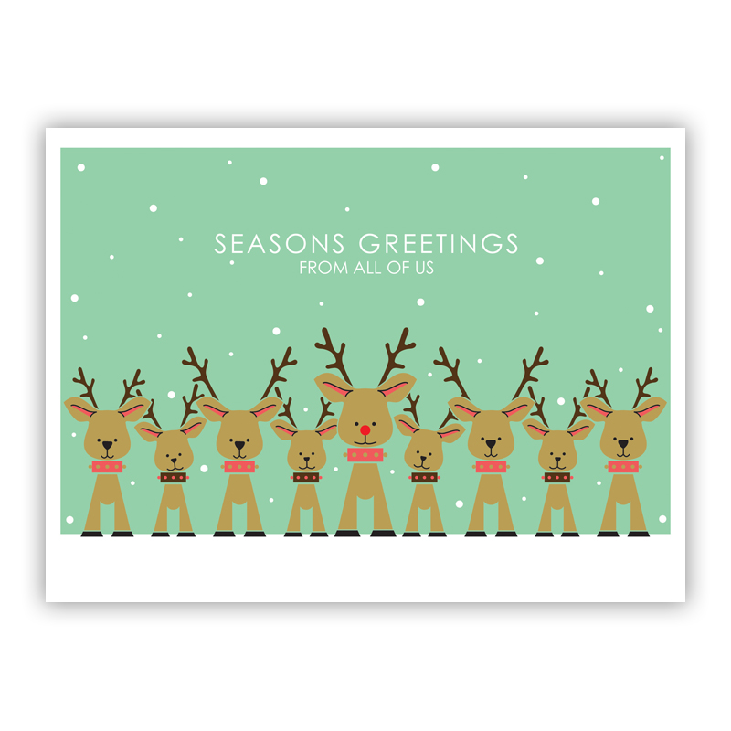 Reindeer Family Mint Holiday Greeting Card