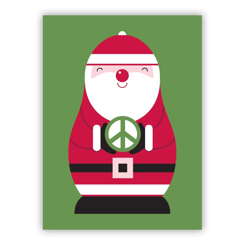 Peace Sign Santa Christmas Holiday Greeting Card