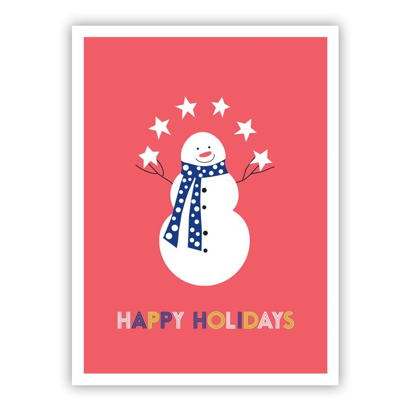 Happy Holidays Juggling Snowman Holiday Greeting Card