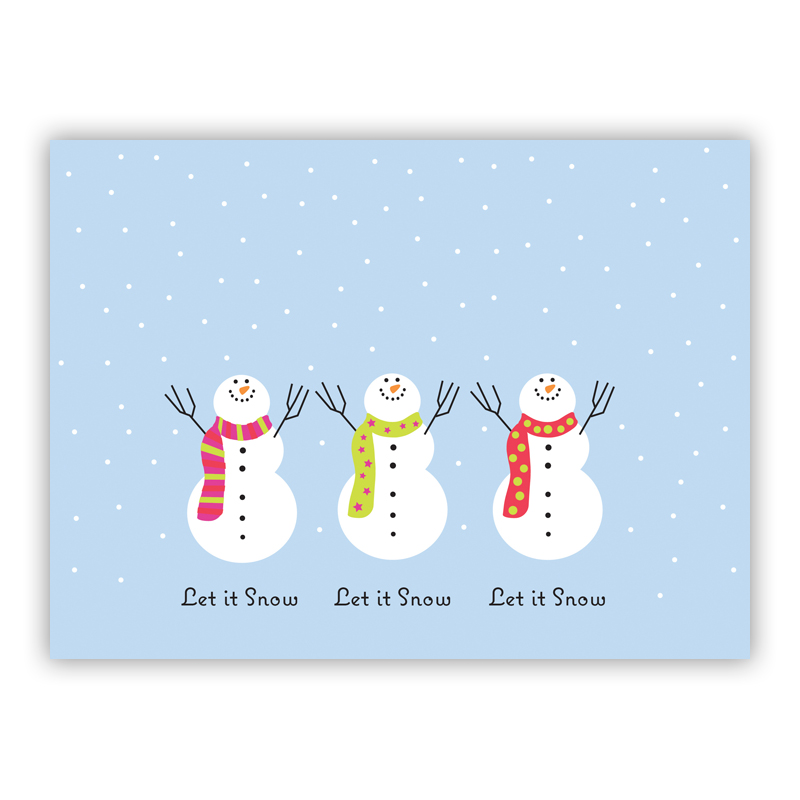 Let It Snow 3 Snowmen Holiday Greeting Card