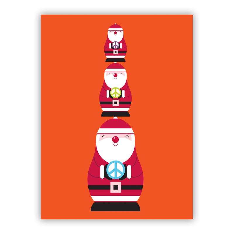 Stacked Santas Christmas Holiday Greeting Card
