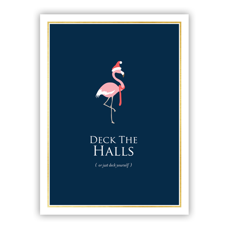Festive Flamingo Christmas Holiday Greeting Card