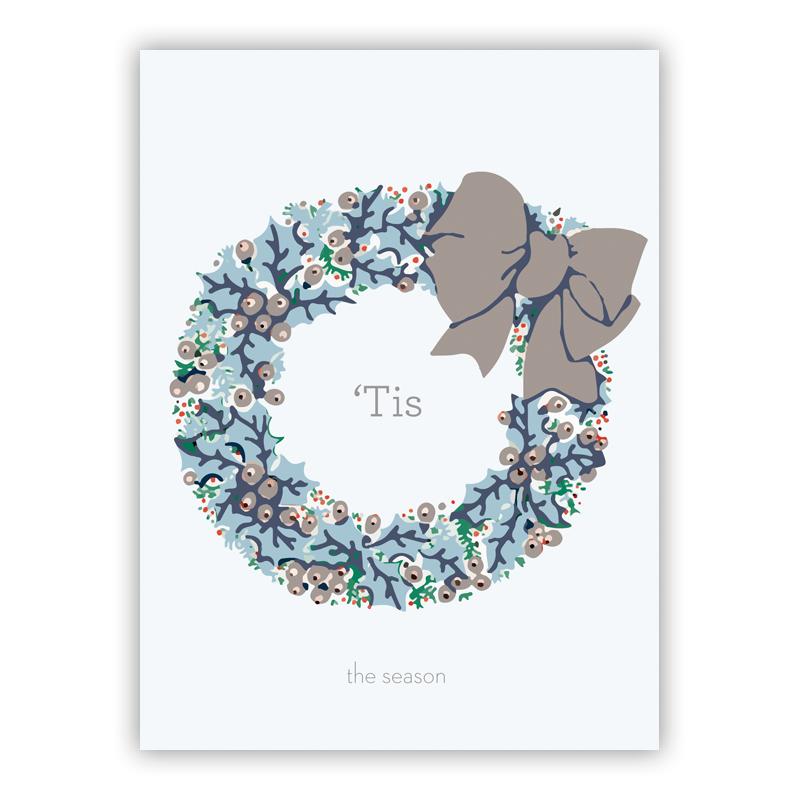 Holly Wreath Grey Holiday Greeting Card