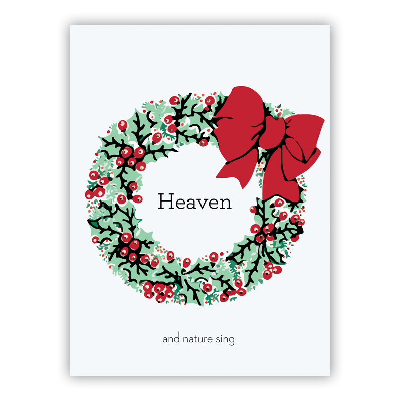 Holly Wreath Red Holiday Greeting Card