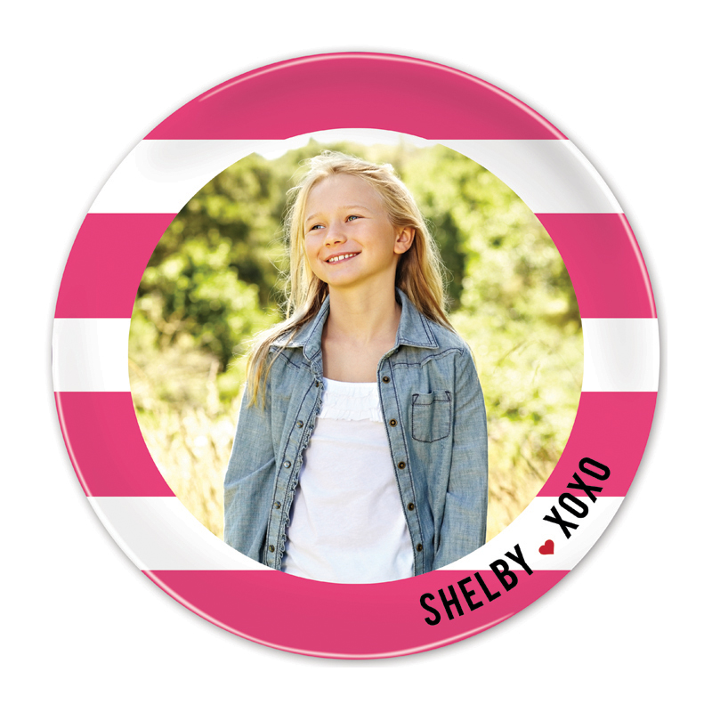 Happy Stripes Hot Pink Round Valentines Plate, Personalized with Photo