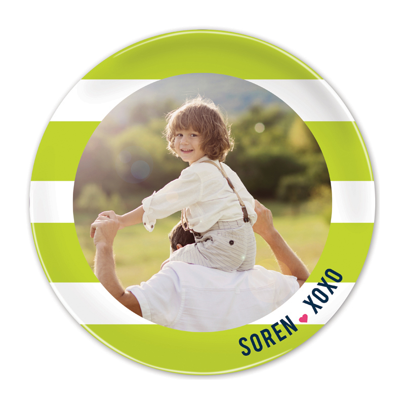 Happy Stripes Lime Round Valentines Plate, Personalized with Photo