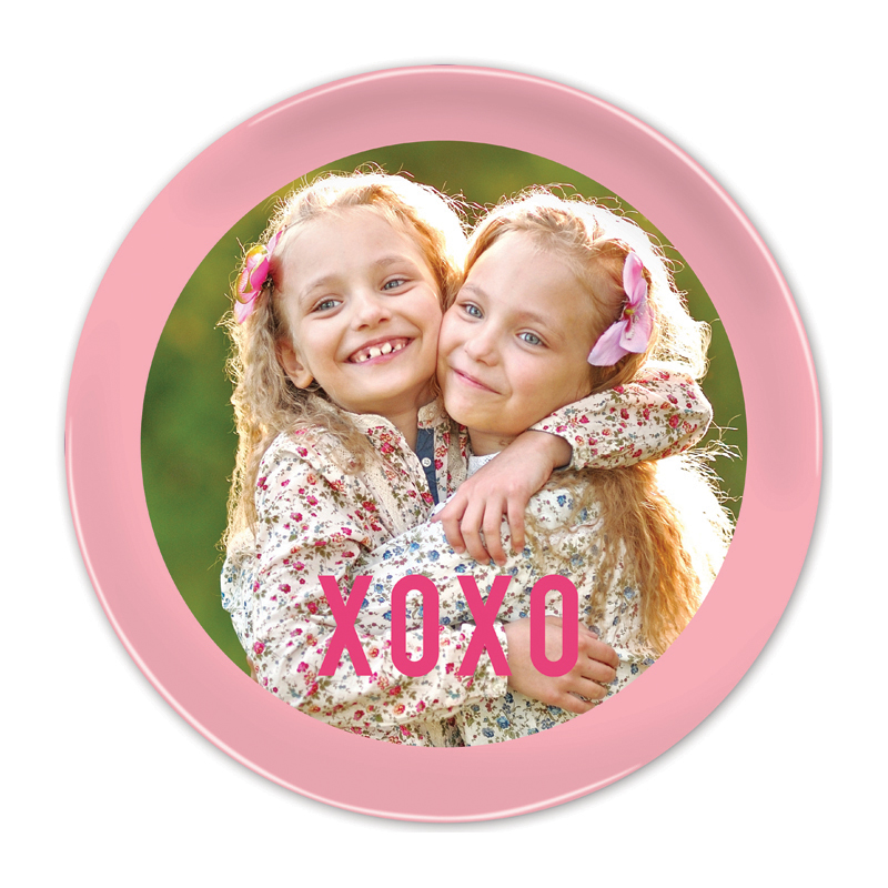 Simple Name Pink Round Valentines Plate, Personalized with Photo