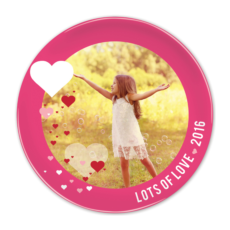 Molly's Hearts Hot Pink Round Valentines Plate, Personalized with Photo