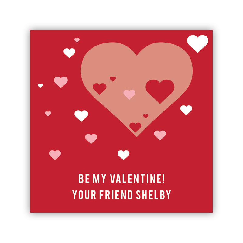 All Hearts Red Valentines Day Stickers, Personalized, qty 24