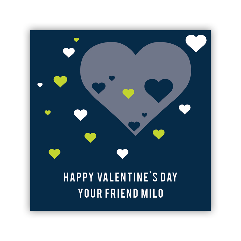 All Hearts Navy Valentines Day Stickers, Personalized, qty 24