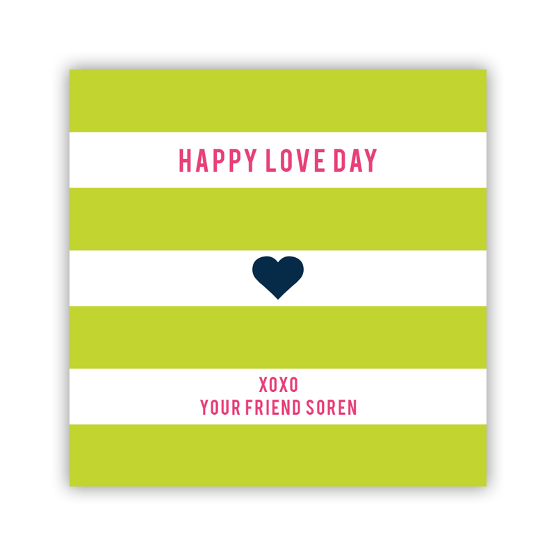 Happy Stripes Lime Valentines Day Stickers, Personalized, qty 24