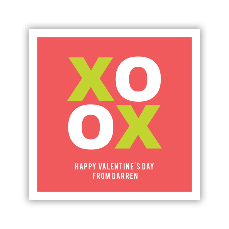 XO Valentine Rosy Valentines Day Stickers, Personalized, qty 24