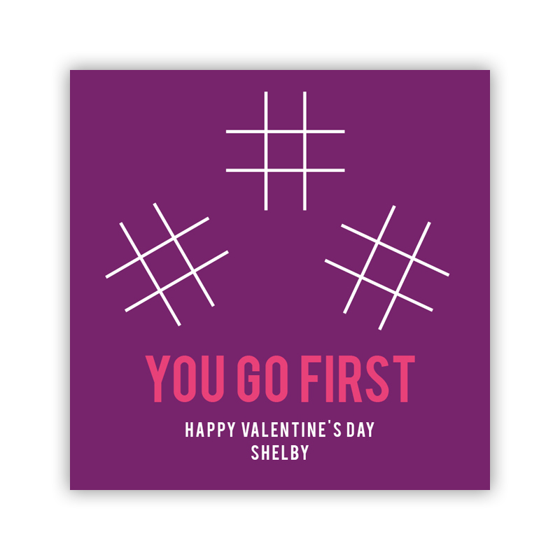 Tic Tac Purple Valentines Day Stickers, Personalized, qty 24