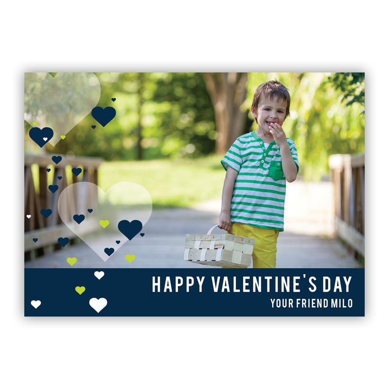 All Hearts Navy Valentines Day Photocards, Personalized, qty 16