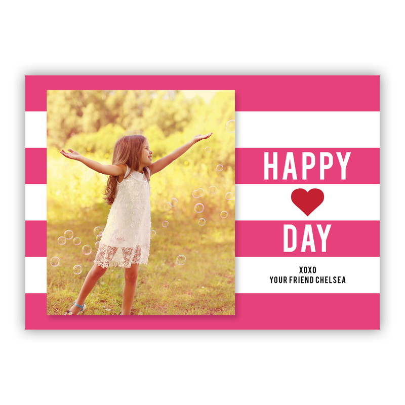 Happy Stripes Hot Pink Valentines Day Photocards, Personalized, qty 16