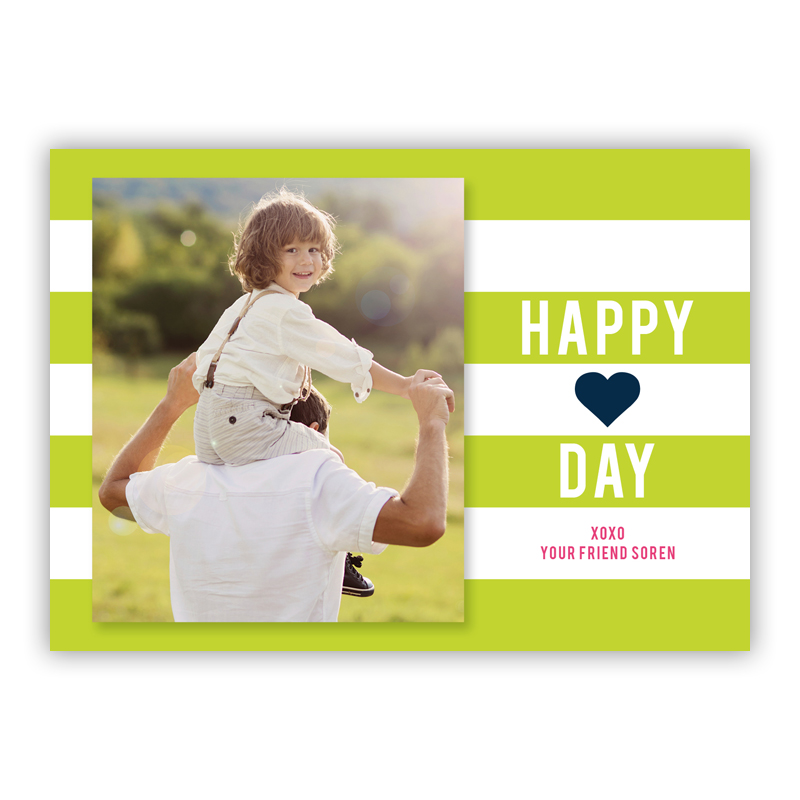 Happy Stripes Lime Valentines Day Photocards, Personalized, qty 16