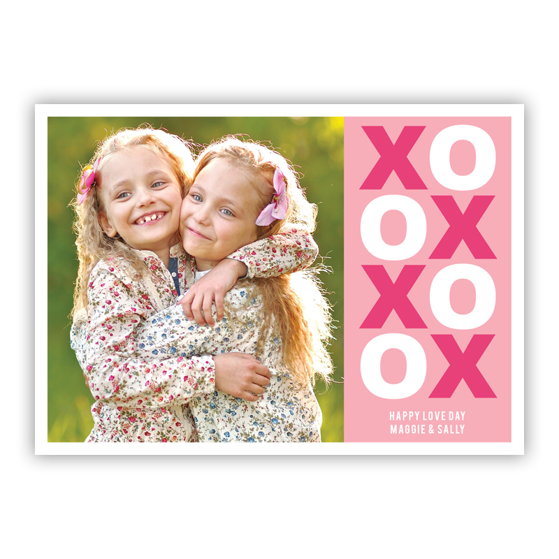 XO Valentine Pinky Valentines Day Photocards, Personalized, qty 16