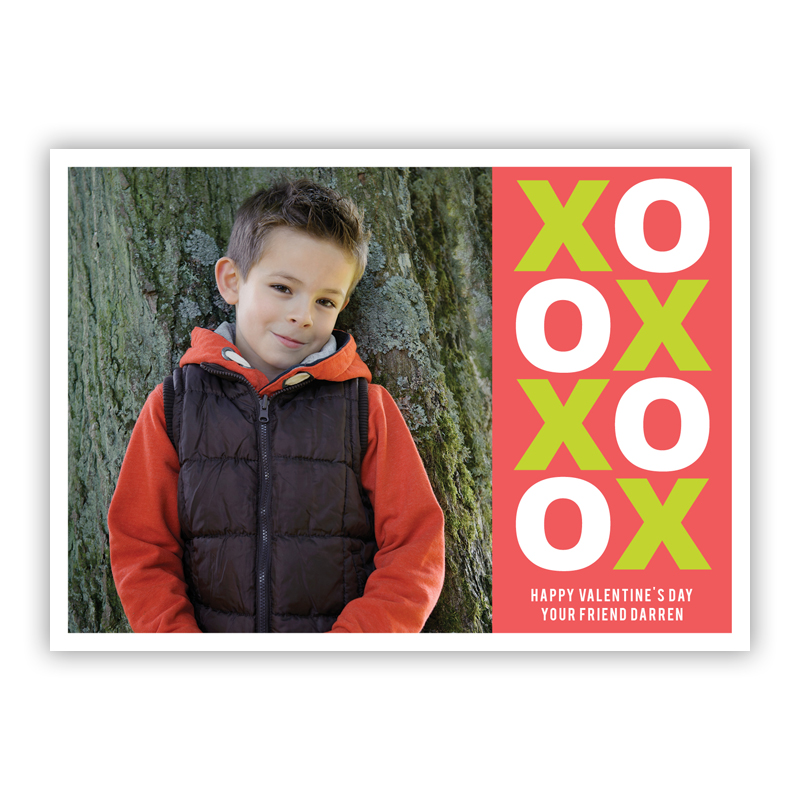 XO Valentine Rosy Valentines Day Photocards, Personalized, qty 16