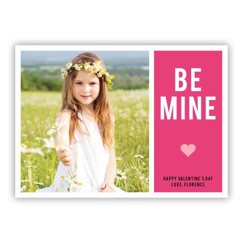 Be Mine Hot Pink Valentines Day Photocards, Personalized, qty 16