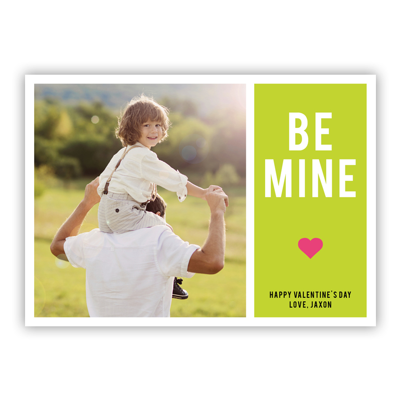 Be Mine Lime Valentines Day Photocards, Personalized, qty 16
