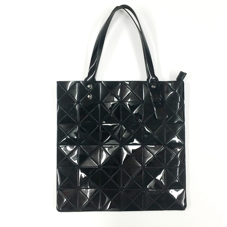triangle design tote bag with zipper in black  silver or hologram
