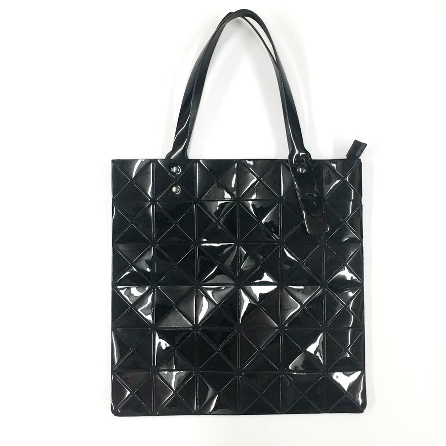 Triangle Design Tote Bag with Zipper in Black