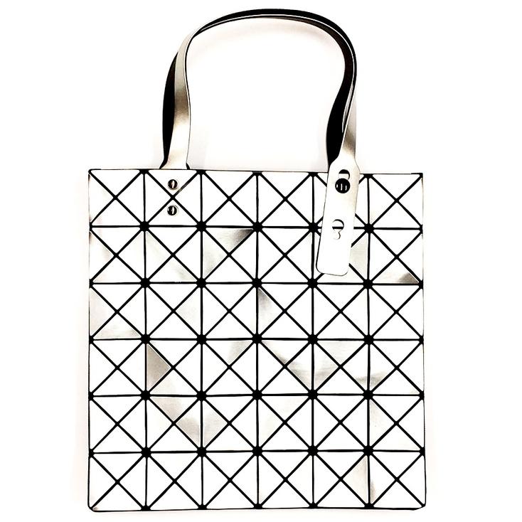 Triangle Design Tote Bag with Zipper in Silver
